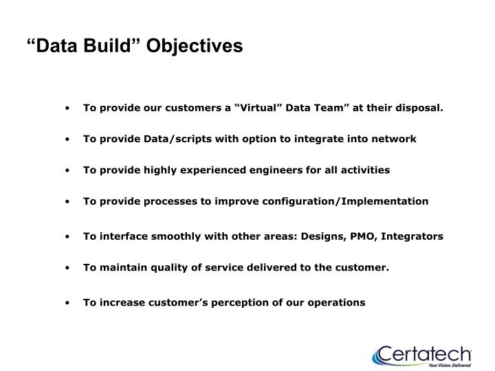 """Data Build"" Objectives"