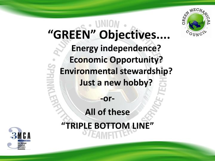 """GREEN"" Objectives...."