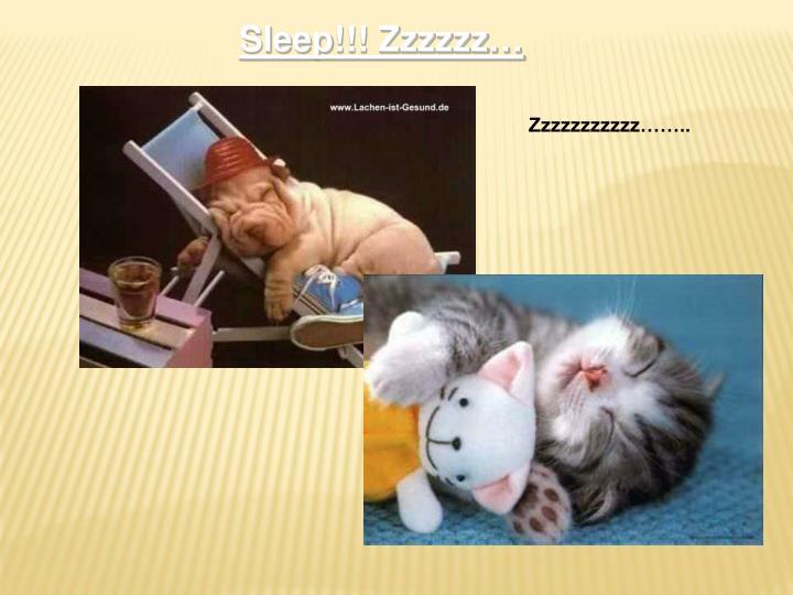 Sleep!!! Zzzzzz…