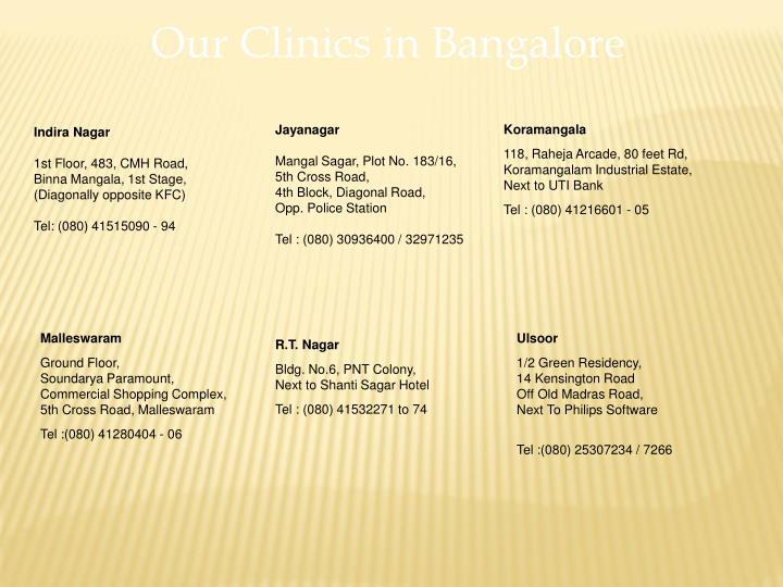 Our Clinics in Bangalore