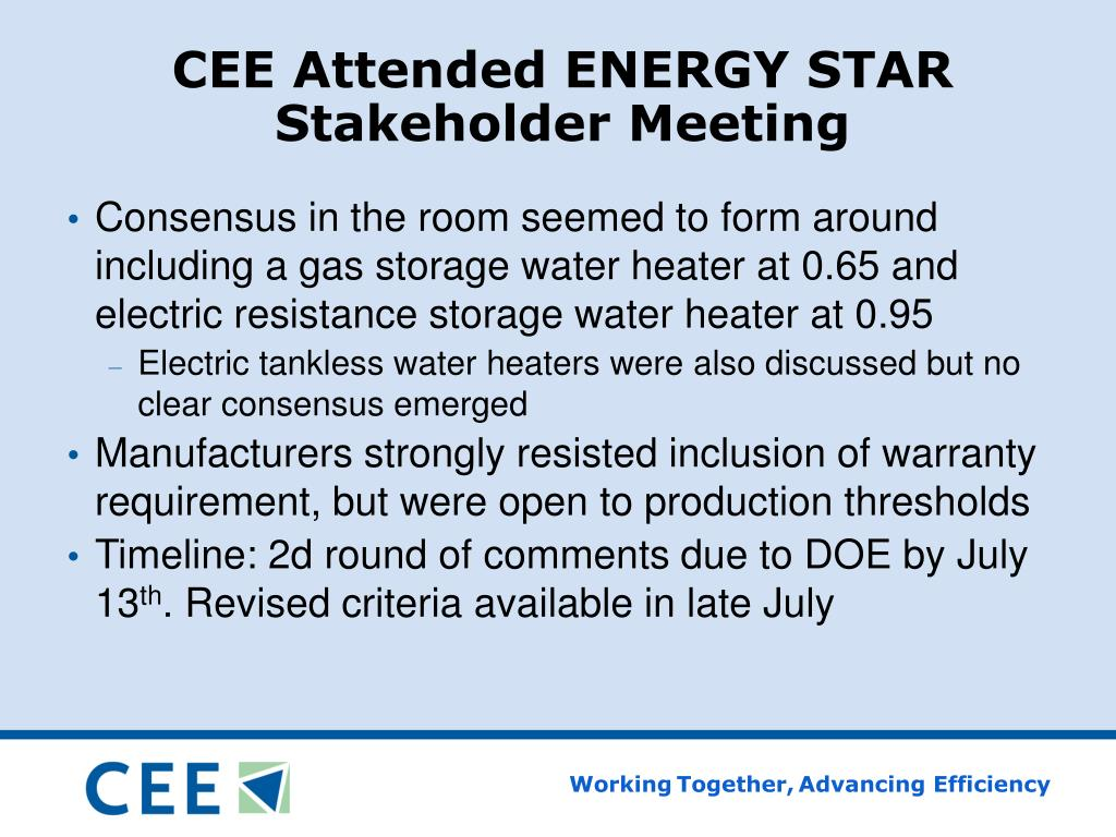CEE Attended ENERGY STAR Stakeholder Meeting