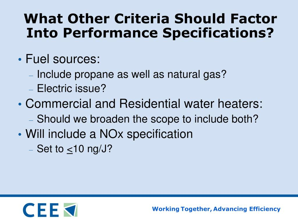 What Other Criteria Should Factor Into Performance Specifications?