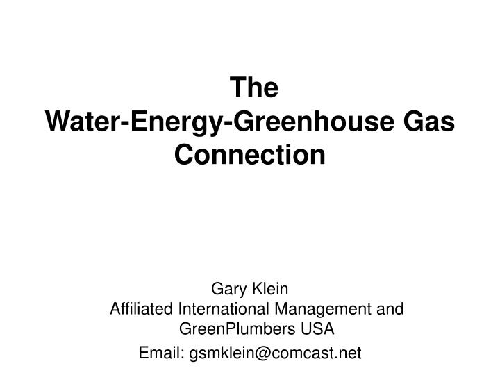 The water energy greenhouse gas connection