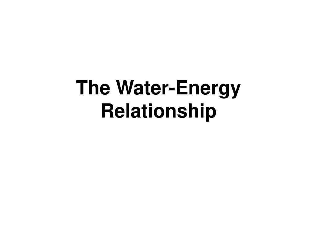 The Water-Energy Relationship