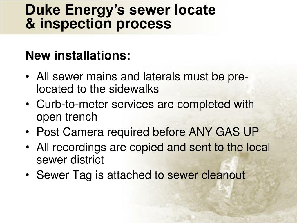 Duke Energy's sewer locate