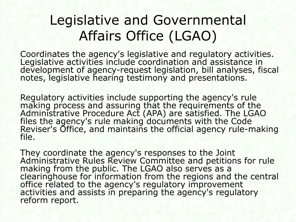 Legislative and Governmental