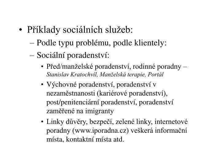 Příklady sociálních služeb: