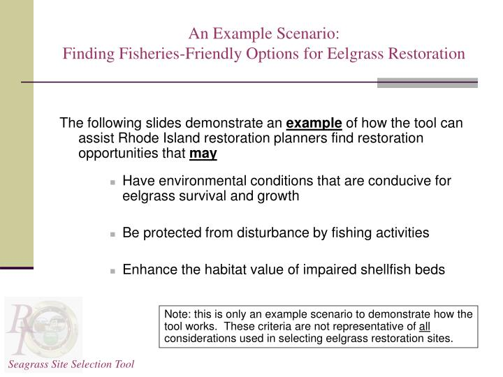 An example scenario finding fisheries friendly options for eelgrass restoration