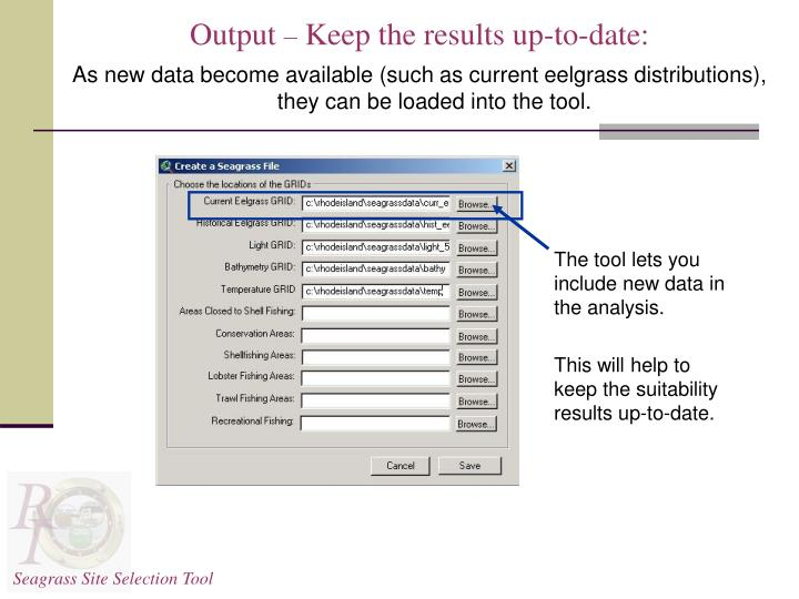 The tool lets you include new data in the analysis.