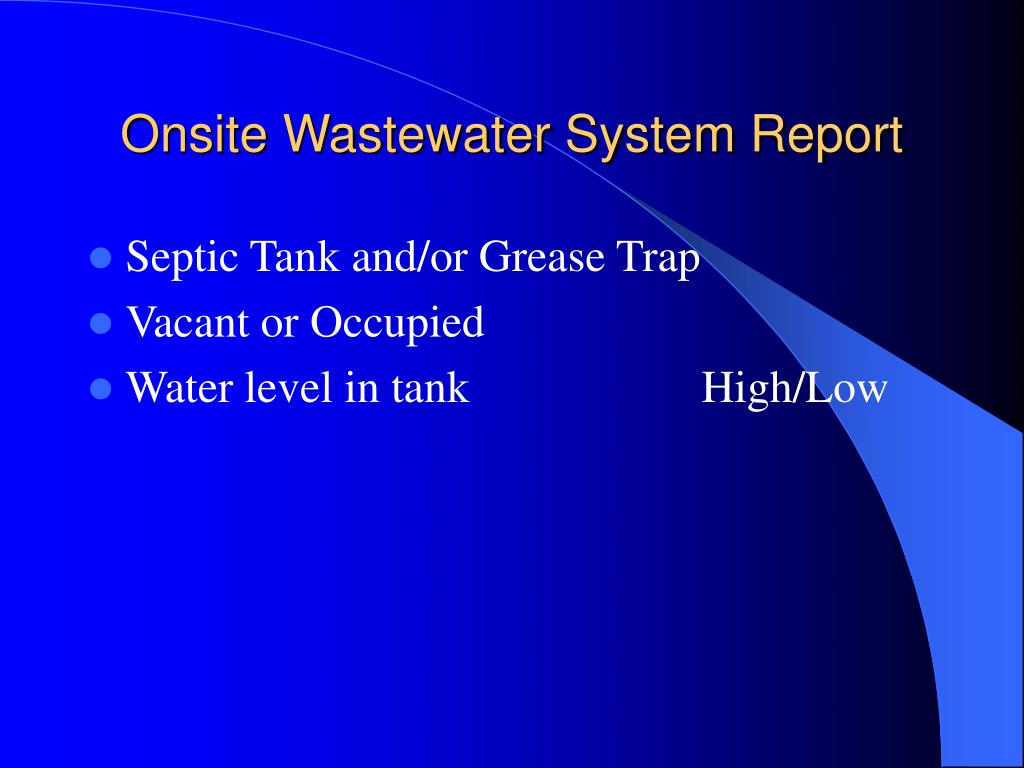 Onsite Wastewater System Report