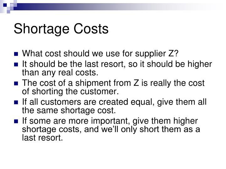 Shortage Costs
