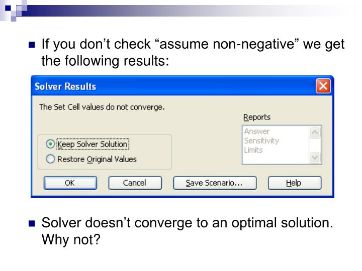 "If you don't check ""assume non-negative"" we get the following results:"