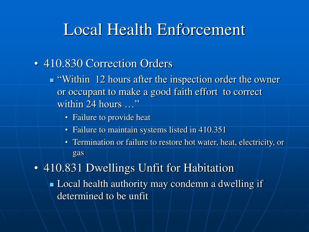 Local Health Enforcement