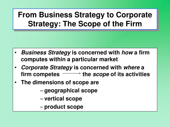 From business strategy to corporate strategy the scope of the firm