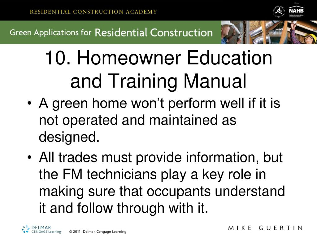 10. Homeowner Education and Training Manual