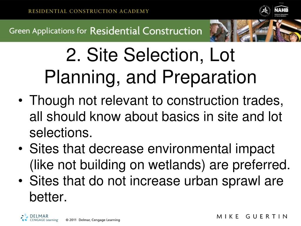 2. Site Selection, Lot Planning, and Preparation
