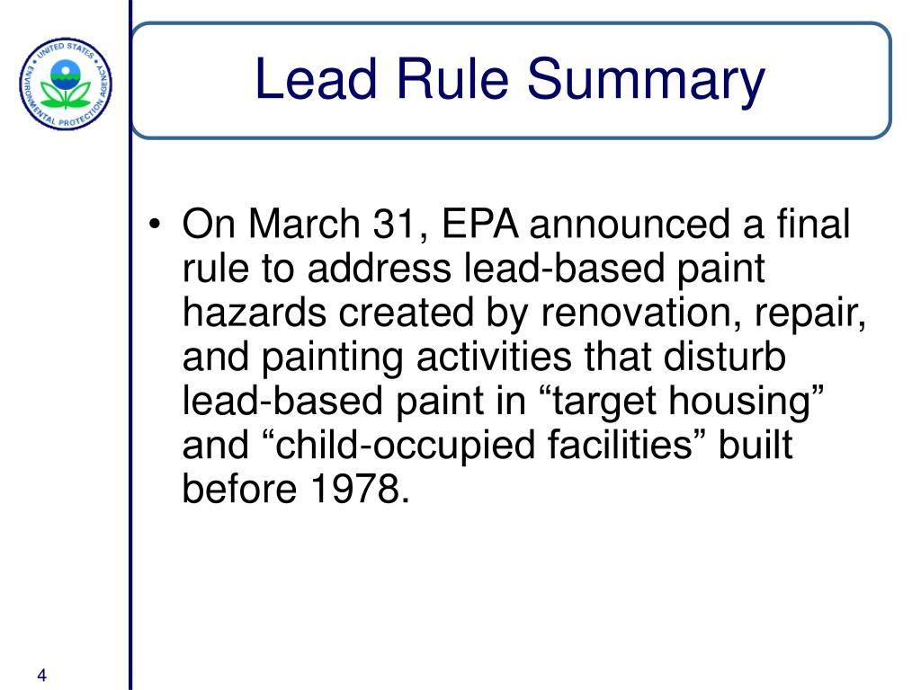 Lead Rule Summary