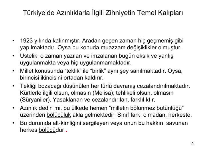 Türkiye'de Azınlıklarla İlgili Zihniyetin Temel Kalıpları
