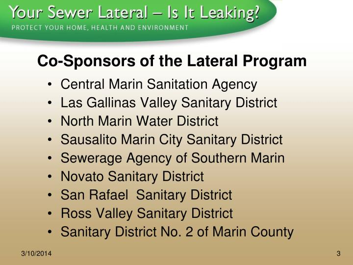 Co sponsors of the lateral program