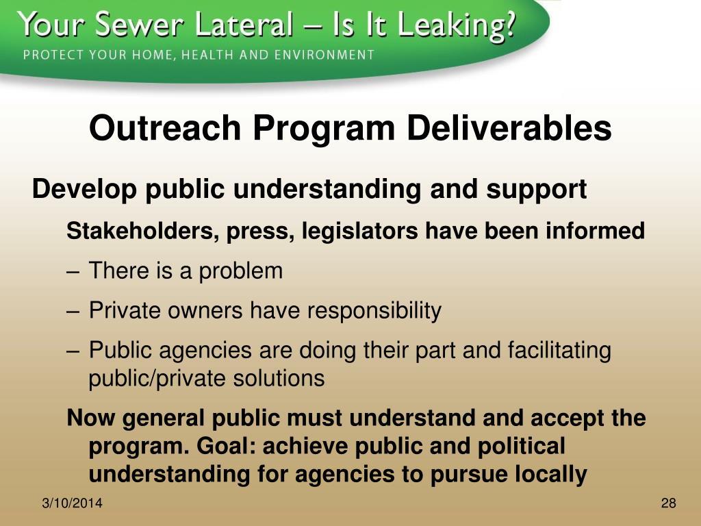 Outreach Program Deliverables