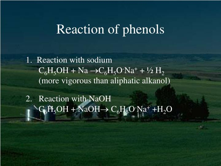 Reaction of phenols