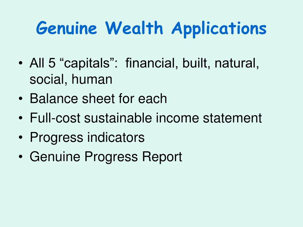 Genuine Wealth Applications