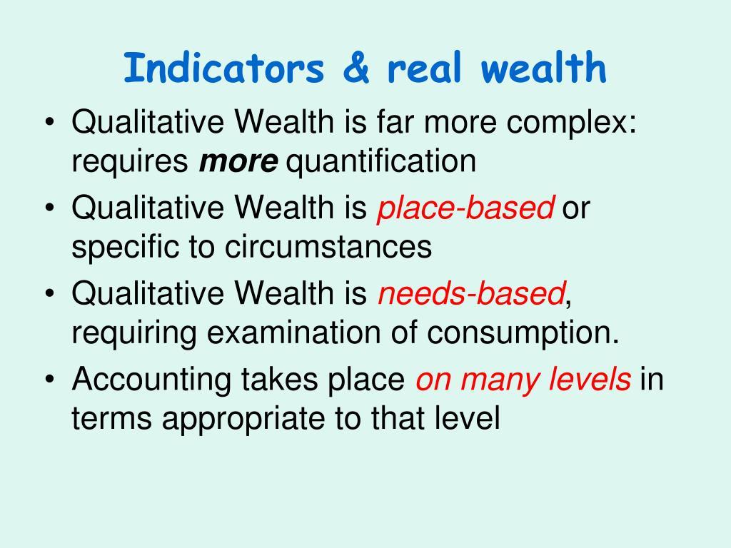Indicators & real wealth