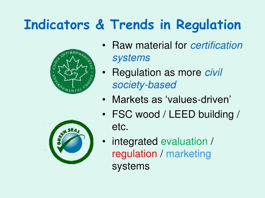 Indicators & Trends in Regulation