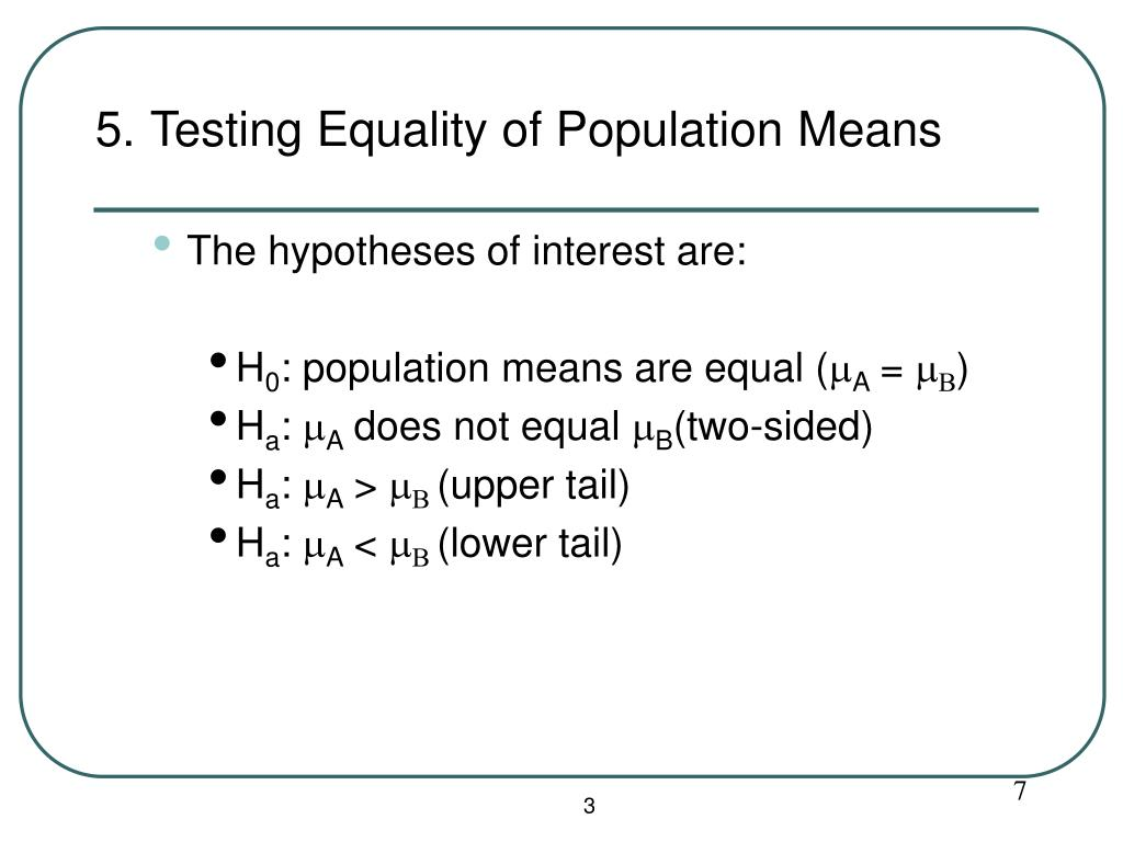 5. Testing Equality of Population Means