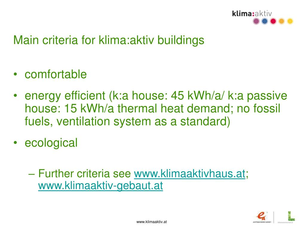 Main criteria for klima:aktiv buildings