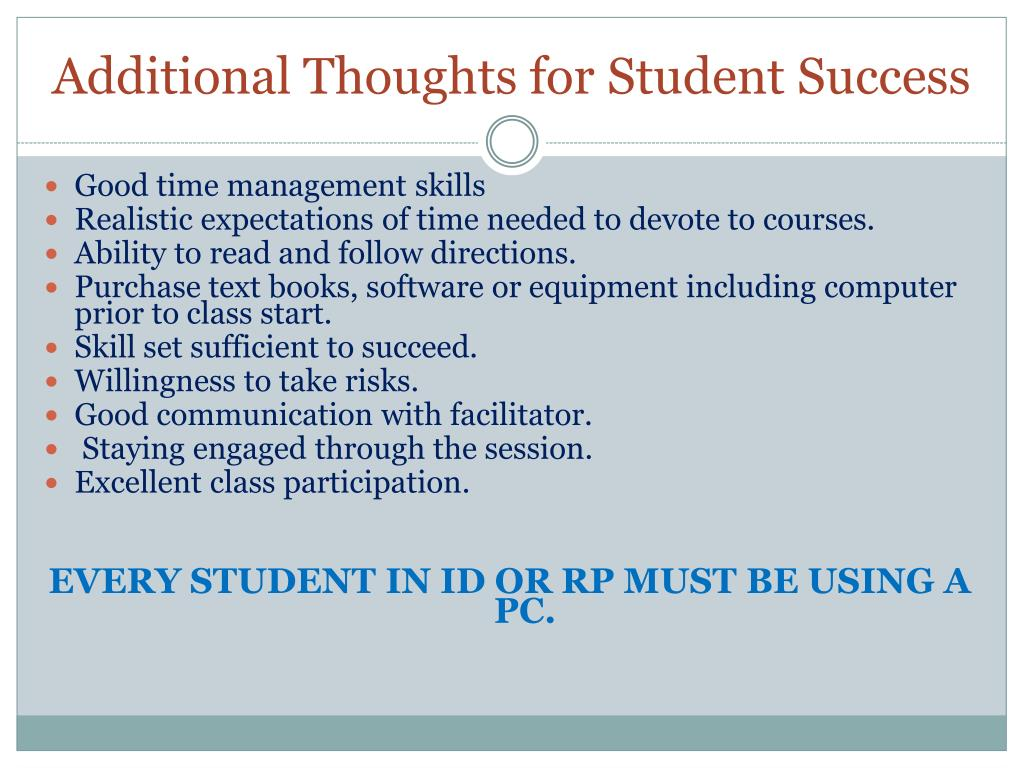 Additional Thoughts for Student Success