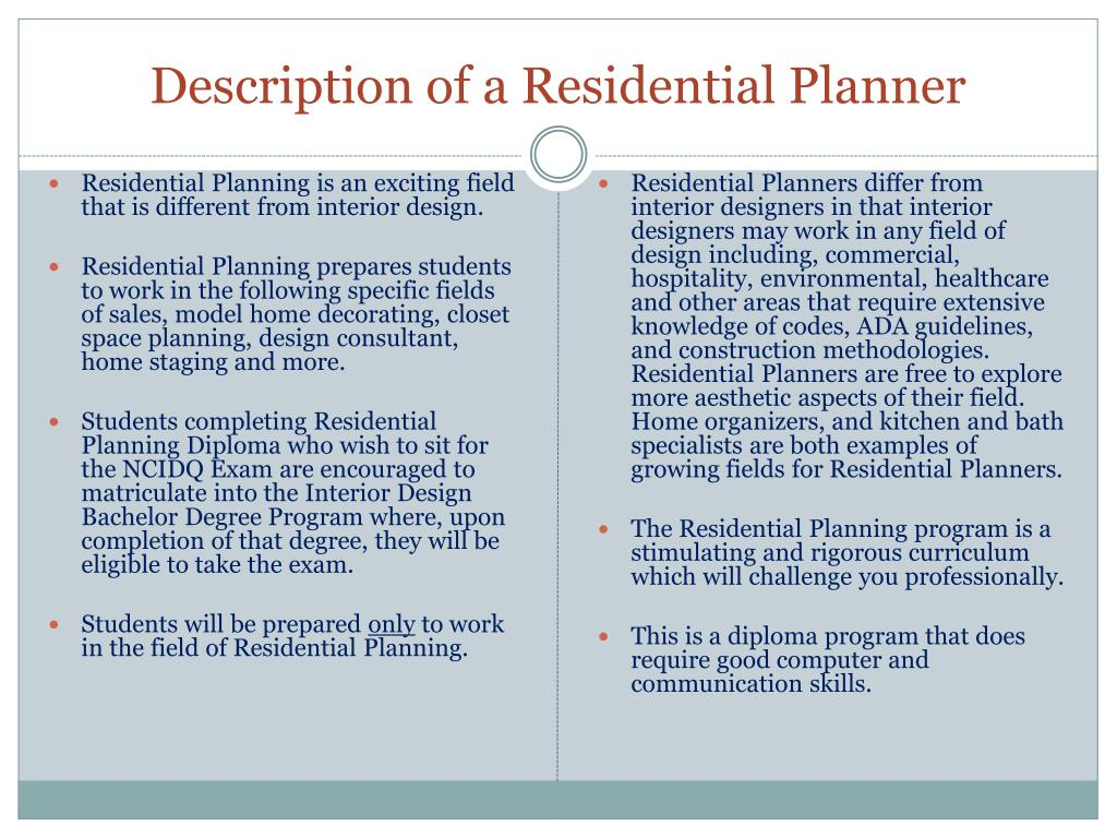 Description of a Residential Planner