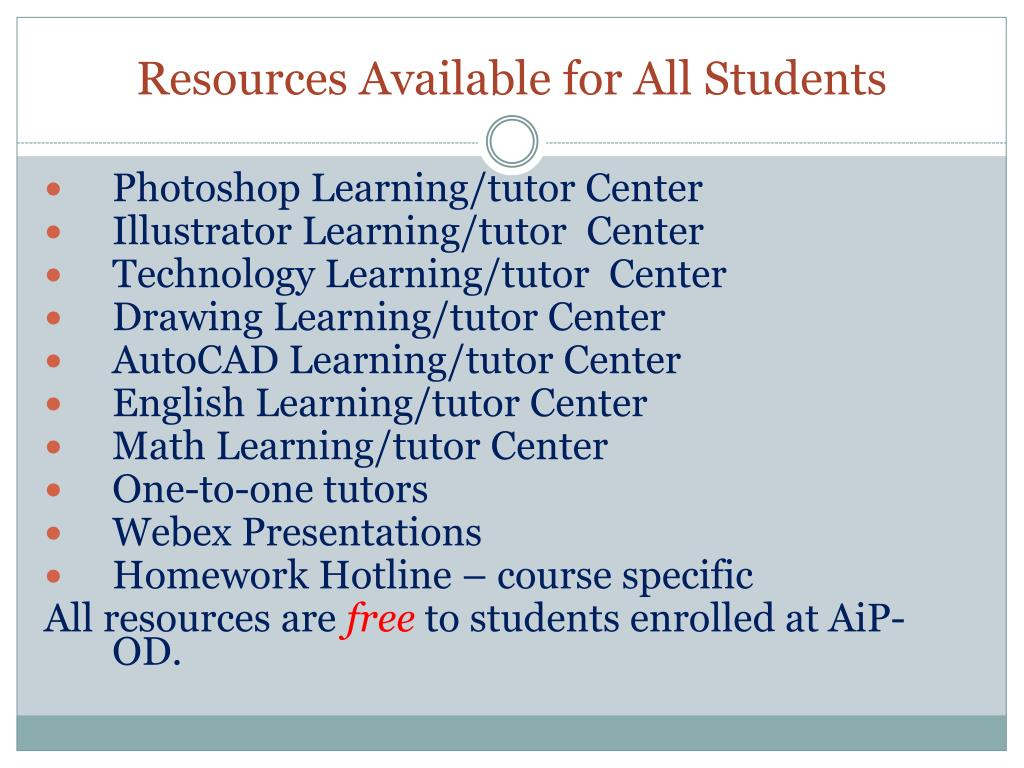Resources Available for All Students
