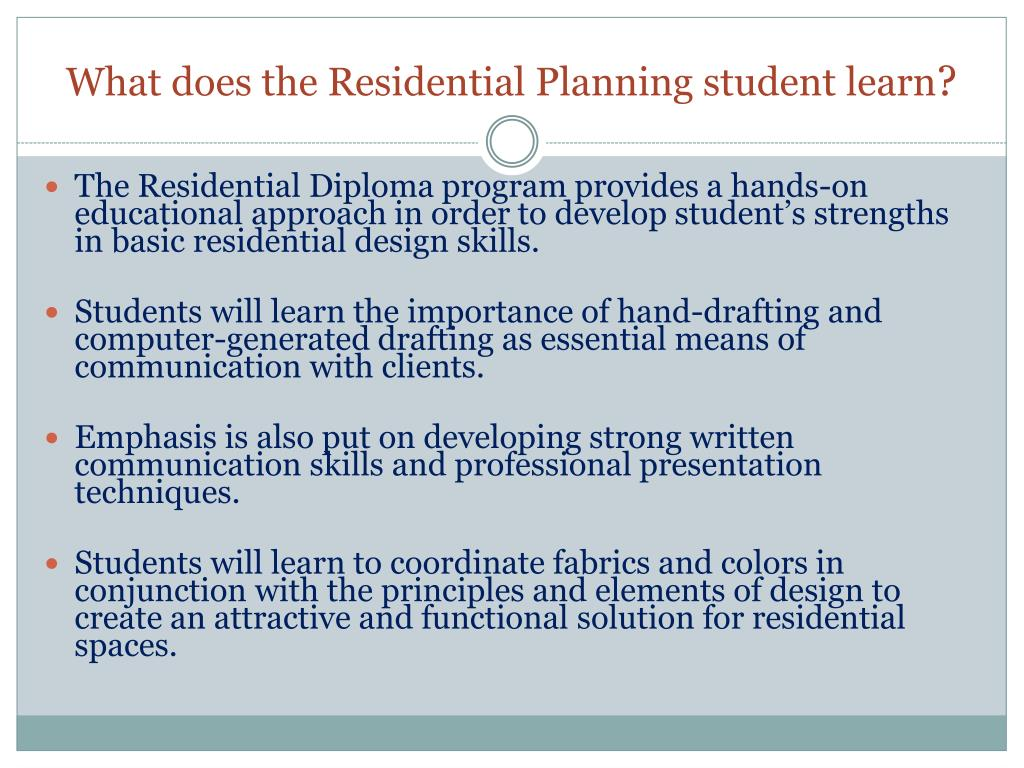 What does the Residential Planning student learn