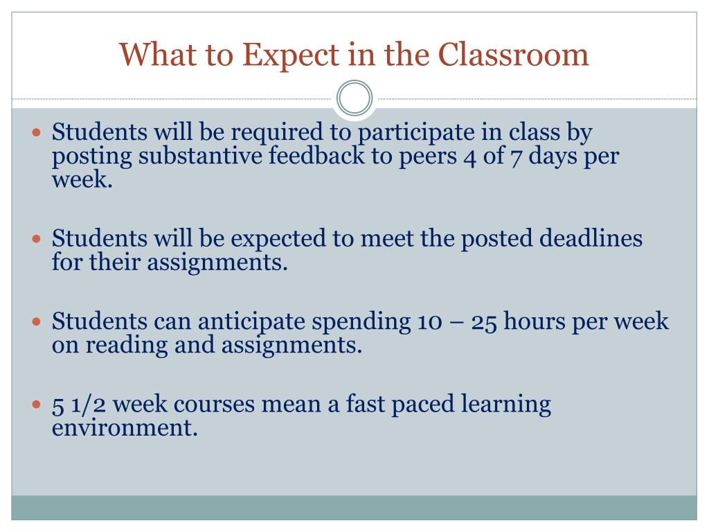 What to Expect in the Classroom