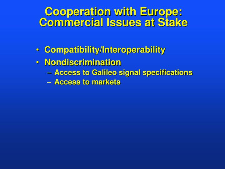 Cooperation with Europe: