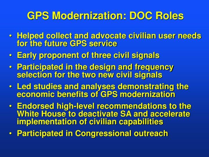 GPS Modernization: DOC Roles
