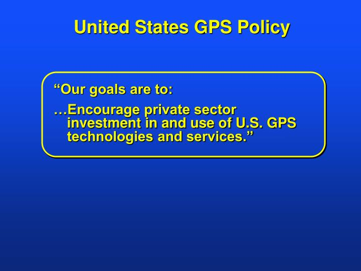 United States GPS Policy