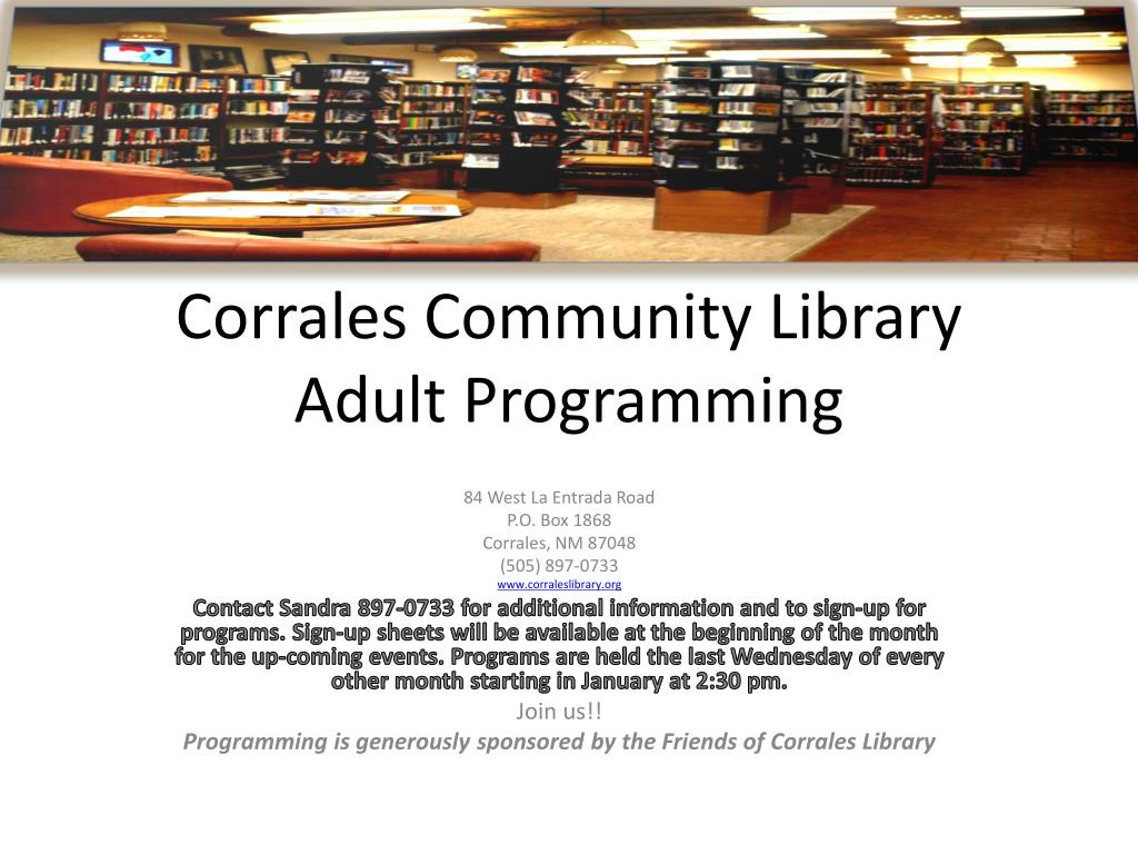 Corrales Community Library Adult Programming