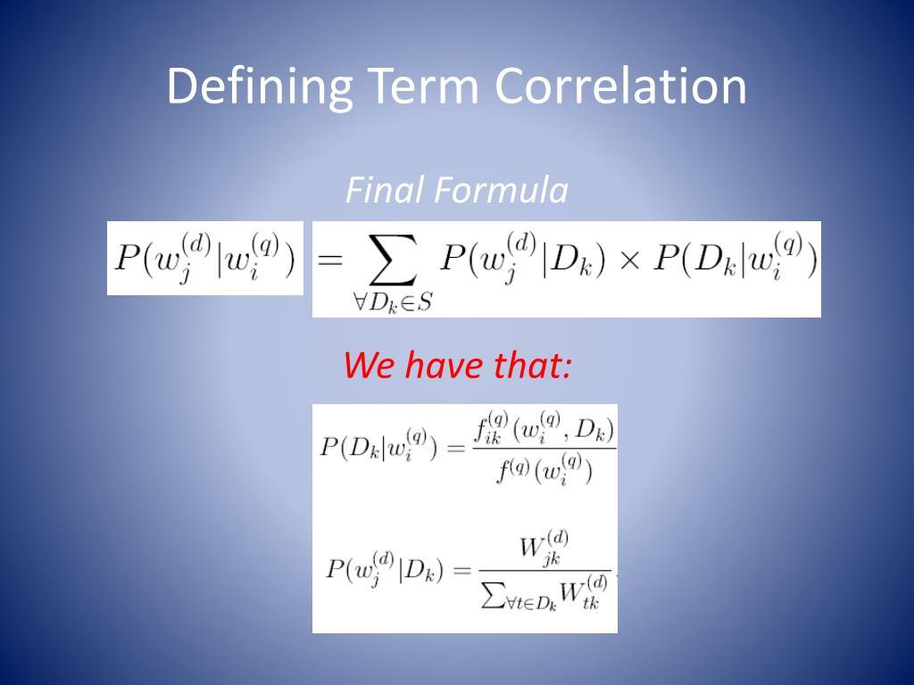 Defining Term Correlation
