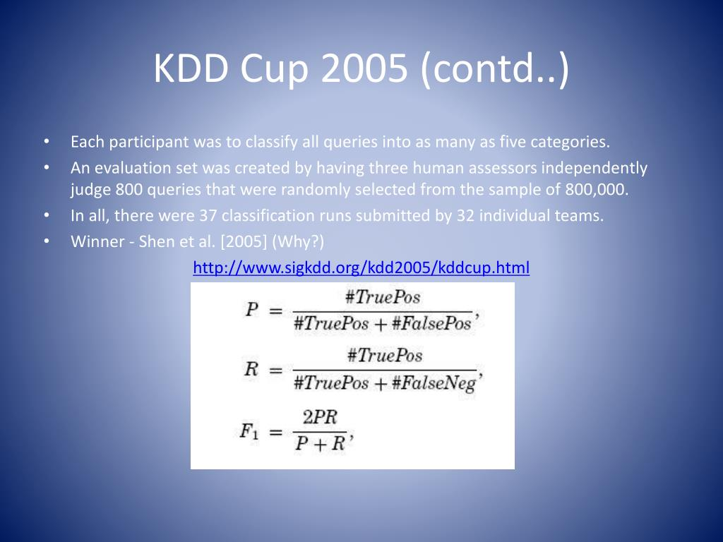 KDD Cup 2005 (contd..)
