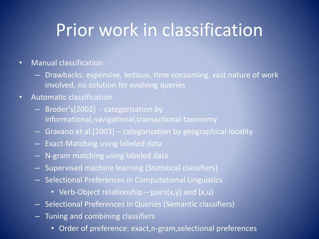 Prior work in classification