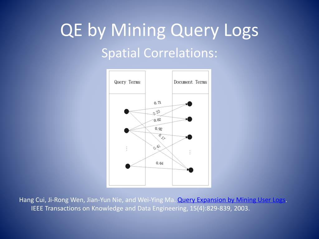 QE by Mining Query Logs