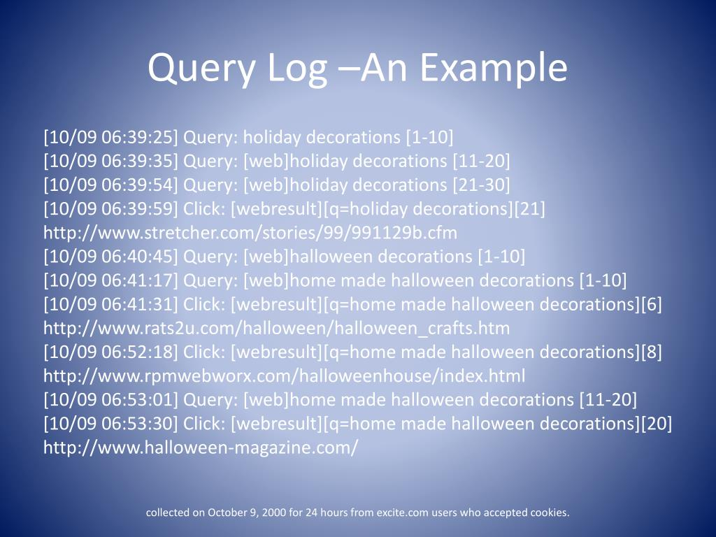 Query Log –An Example