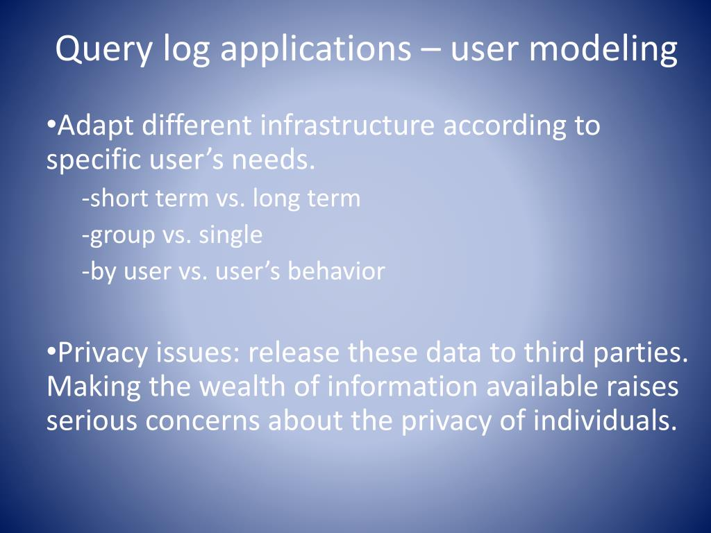 Query log applications – user modeling
