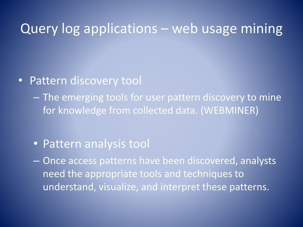 Query log applications – web usage mining