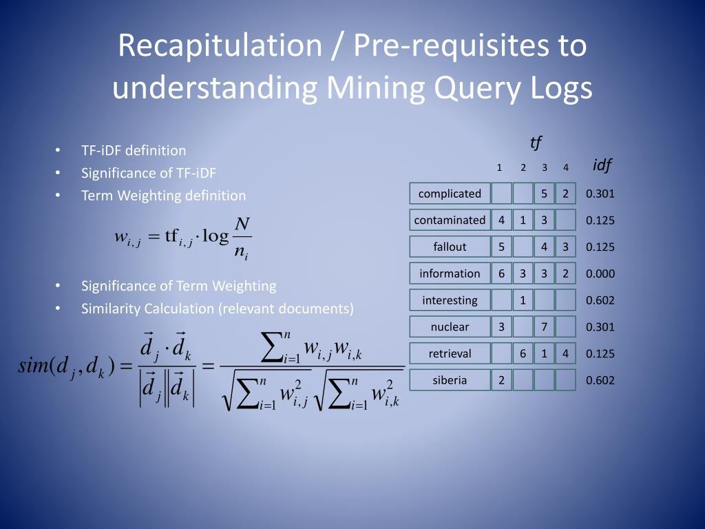 Recapitulation / Pre-requisites to understanding Mining Query Logs