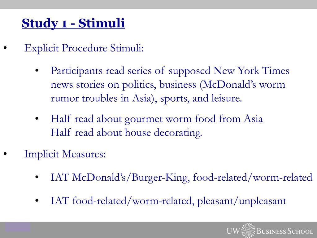 Study 1 - Stimuli