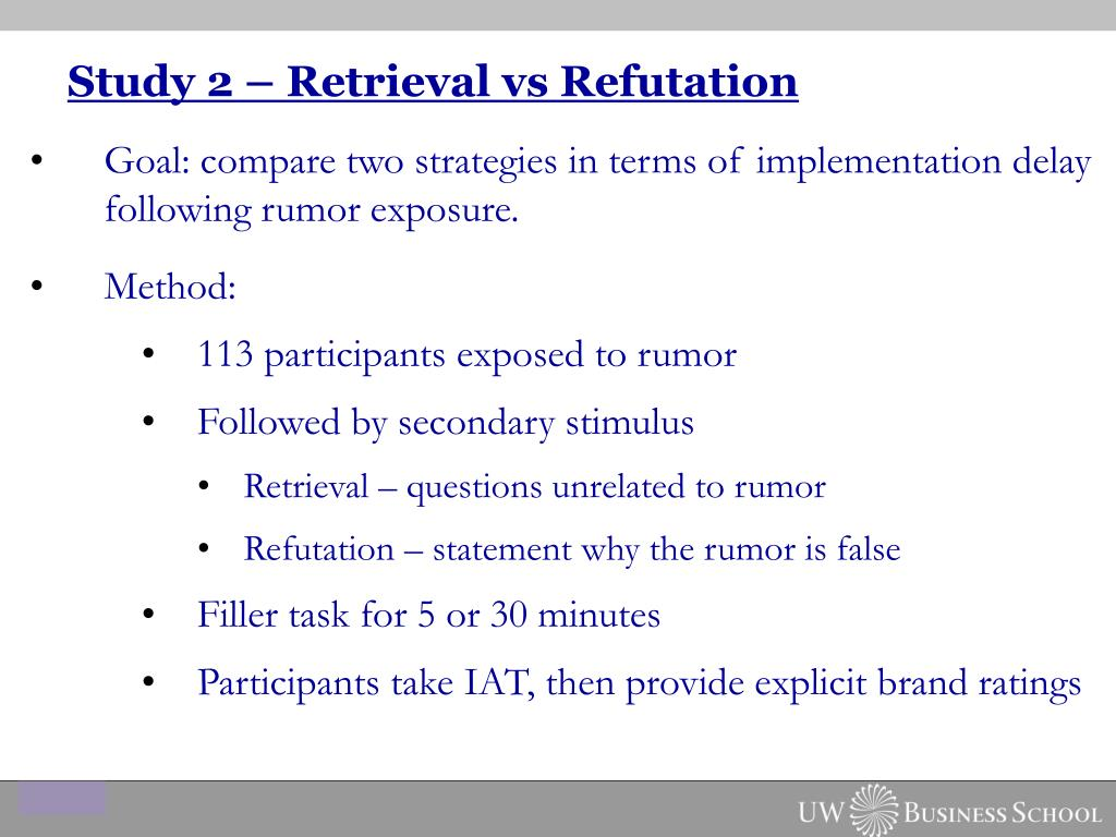 Study 2 – Retrieval vs Refutation