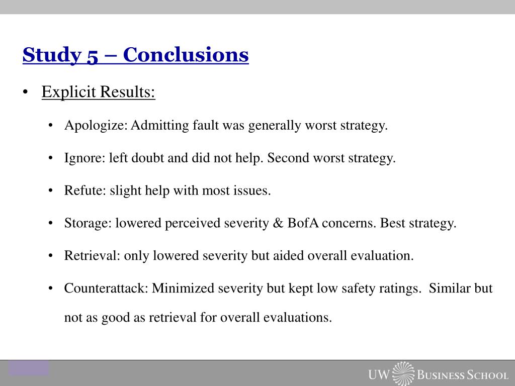 Study 5 – Conclusions